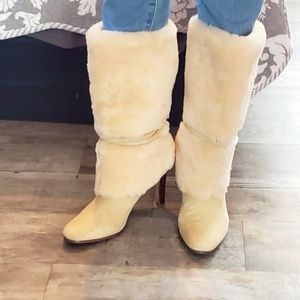 Ralph Lauren cream fuzzy leather boots EUC